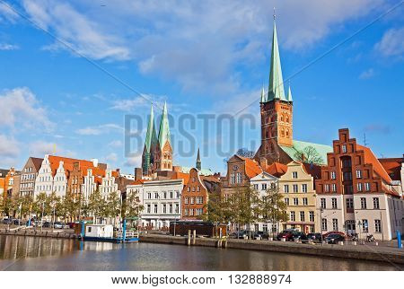 Trave River In Lubeck Old Town, Germany
