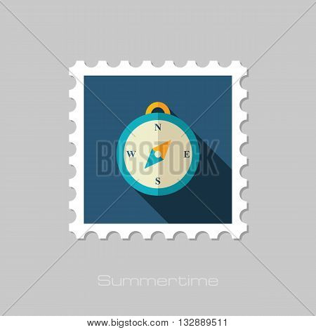 Compass vector flat stamp with long shadow. Beach. Summer. Marine. Summertime. Vacation eps 10