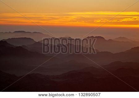 Panorama rocks of holy ground Mount Sinai on the sunrise, Egypt