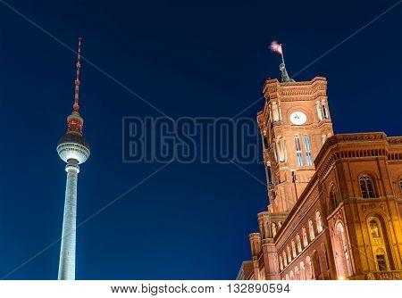 Townhall and Television Tower in Berlin at night