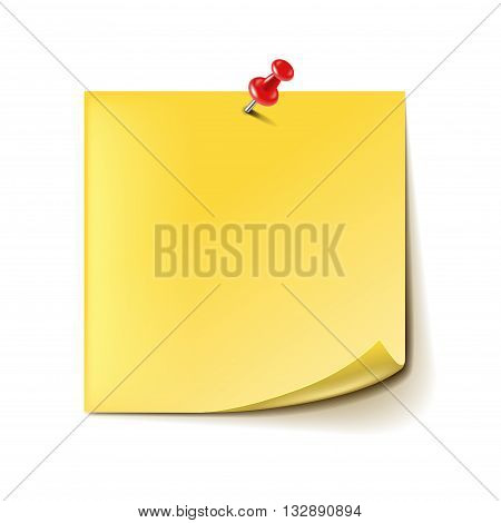 Yellow note with red pin isolated on white photo-realistic vector illustration