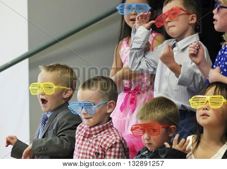 SUMMERLIN, NEVADA, MAY 26. Ethel W. Staton Elementary School on May 26, 2016, in Summerlin, Nevada. A class performs a program at a kindergarten graduation at Ethel W. Staton Elementary School in Summerlin Nevada.