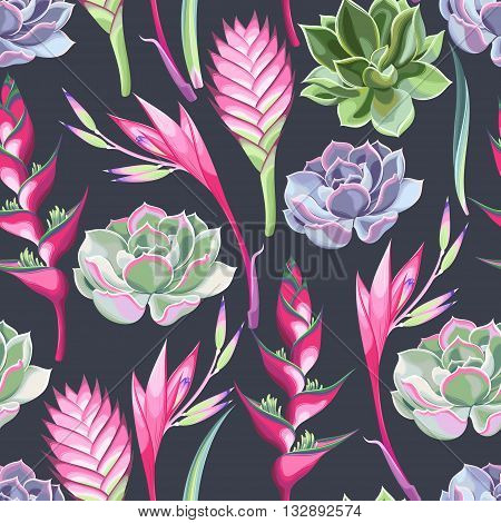 Exotic jungle flowers and succulent vector seamless background poster