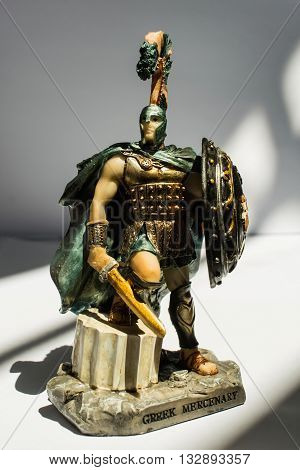 statue of an ancient Greek mercenary isolated