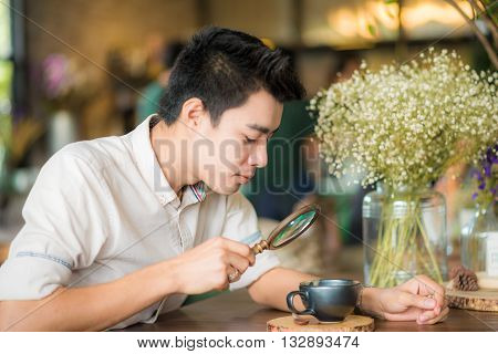 Handsome Businessman Drinking Coffee In Cafe Art, Asian Men With Coffee