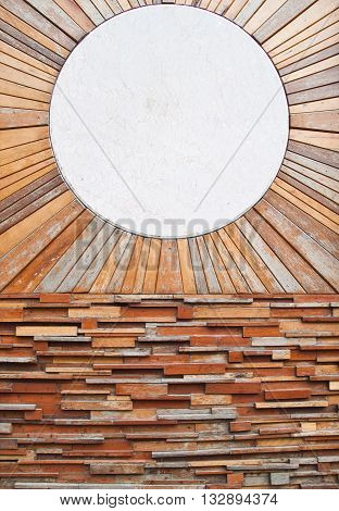 Vintage wood pattern texture and circle marble for background