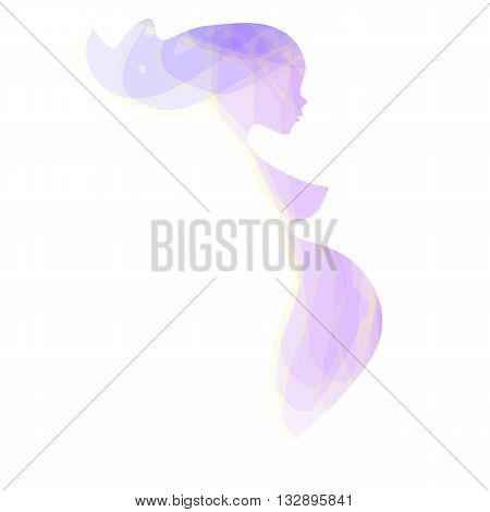 Beautiful nude pregnant woman silhouette, abstract turquoise blue subtle colors, elegant linear sketch symbol motherhood, expectant mother, prospective mother, prenatal care