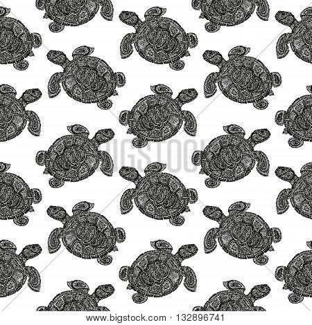 Sea Turtle Illustration In Paisley Mehndi Style Pattern.