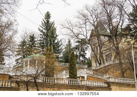 Sanatorium resort buildings. Architecture and attractions of the city of Kislovodsk.