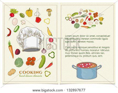 Cookbook page Cookbook hand drawn Cookbook elements
