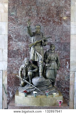 MOSCOW, RUSSIA - MAY 7, 2016: Monument to the heroes guerrillas in Moscow metro station Partizanskaya