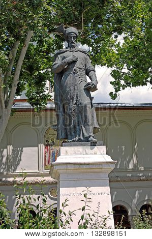 Bucharest Romania - 11 July 2015: Statue of Constantin Brancoveanu. Constantin Brancoveanu (1654-1714) was Prince of Wallachia between 1688 and 1714. In the time that he reigned Romanian country experienced a period of cultural flowering and the developme