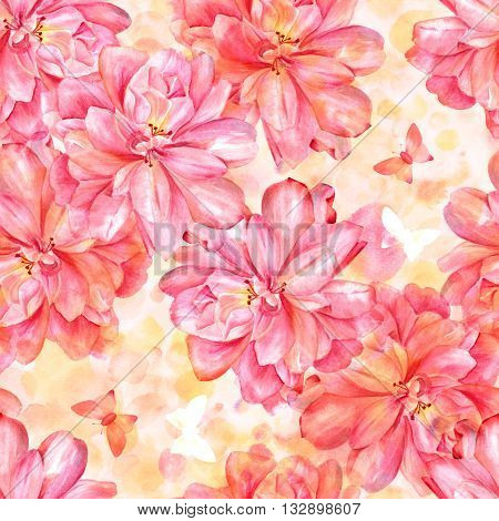 A seamless background pattern with blooming pink watercolor roses and butterflies on a pastel colored texture with abstract splashes of paint