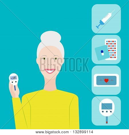 Diabetes. Vector illustration Life with diabetes. Old woman with a glucometer. Diabetes poster