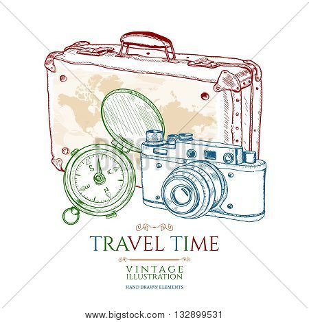 Travel old compass old suitcase old camera hand drawn vector illustration