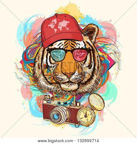 Tiger hipster art print hand drawn animal illustration