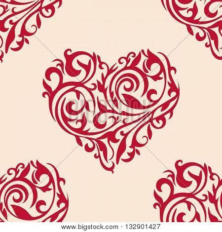 Seamless vector pattern with ornate hearts. Hearts from floral tracery. Wallpaper with hearts for Valentine's day.