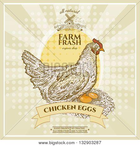 Farm fresh chicken eggs poster design hen in nest with eggs