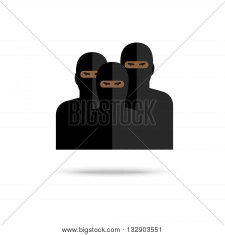 Icon of terrorists on white background. Flat design, vector illustration. Flat design, vector illustration.