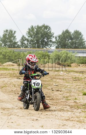Girl During Training For Motocross.