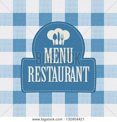 banner for menu cafe or restaurant with a chef's hat and drawing diners spirit-levels against the background of a checkered tablecloth