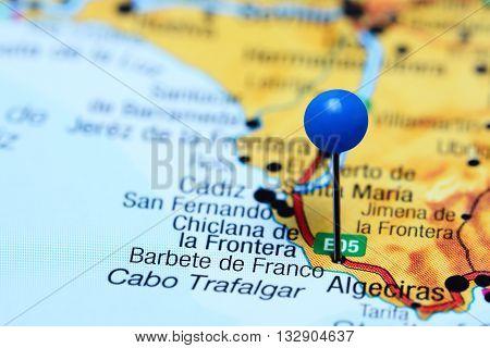 Barbete de Franco pinned on a map of Spain