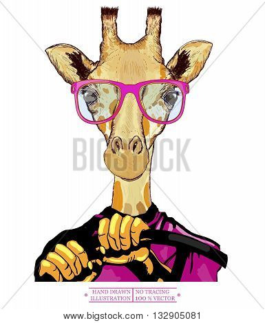 Giraffe driving a car hipster animals fashion illustration hand drawn vector