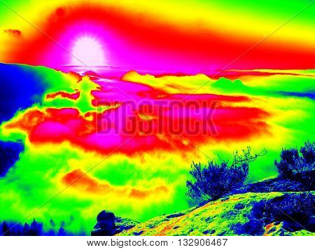 Amazing Thermography Photo Of Hilly Landscape. Colorful Sunset Above