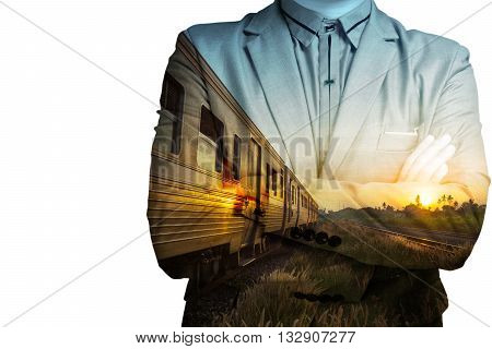 Double Exposure Of Train Station With Railway And Businessman  Business Development Concept.
