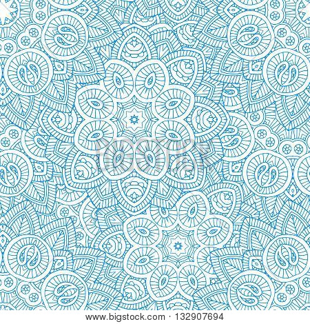 beautifull lined mandala seamless pattern, indian paisley motifs, , vector illustration