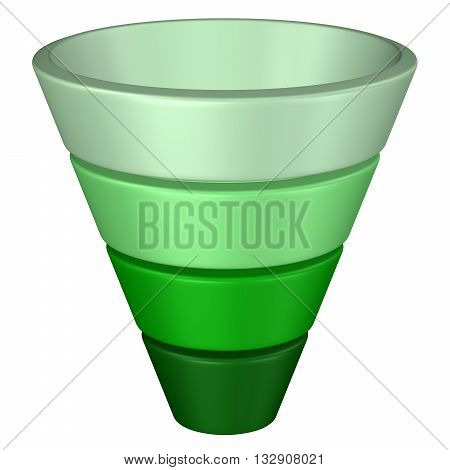 Concept: purchase funnel isolated on white background. 3D rendering. poster