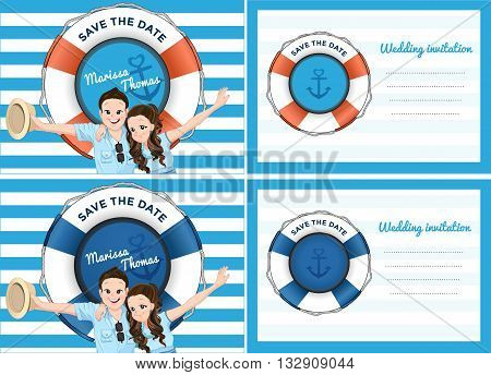 Wedding card invitation in blue sea theme. Bride and groom in cartoon style extend their arms with smiling.