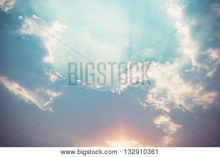 Sunlight With Cloud On Blue Sky
