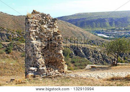 Ruins of tower of Jvari Monastery a sixth century Georgian Orthodox monastery near Mtskheta, eastern Georgia