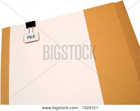 Manila Folder With White Page Attached