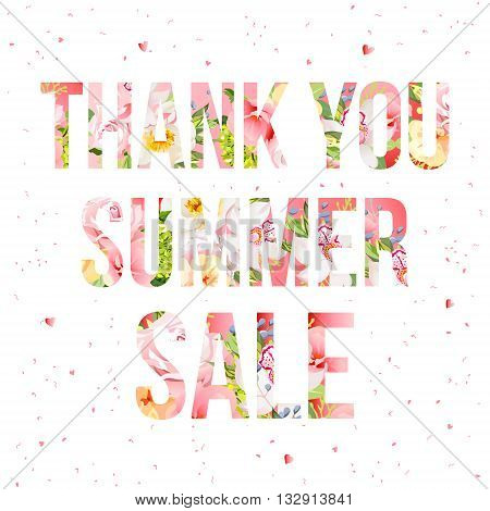 Thank you summer sale floral vector typography. Flower words design. All words are isolated.