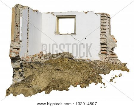 demolition of old and isolated house on white background