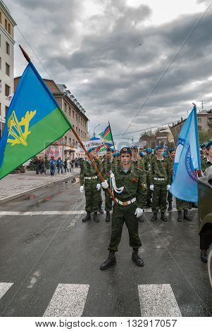 Tyumen, Russia - May 9. 2009: Parade of Victory Day in Tyumen. Cadets of Grad patriotic club prepare to parade