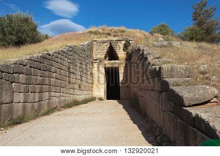 Entrance to the Tomb of Atreus. Mycenae. Greece.