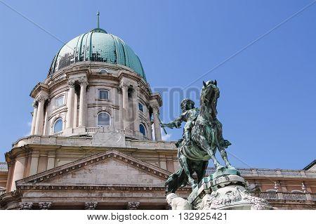 Buda Castle and Monument of Prince Eugene of Savoy Budapest Hungary