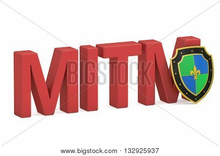 MITM concept with shield 3D rendering  isolated on white background