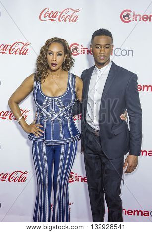 LAS VEGAS - APRIL 14 : Actress Vivica A. Fox (L) and actor Jessie Usher attends the CinemaCon Big Screen Achievement Awards at The Caesars Palace on April 14 2016 in Las Vegas