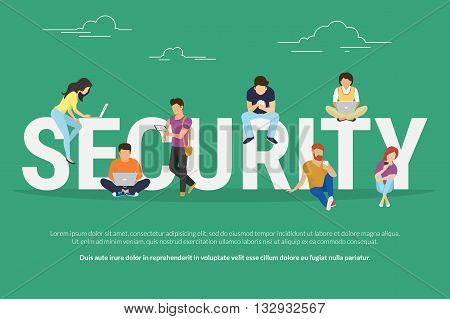 Security concept illustration of young various people using mobile gadgets such as tablet pc and smartphone via confidential and safe internet tenologies. Flat design of people near letters security