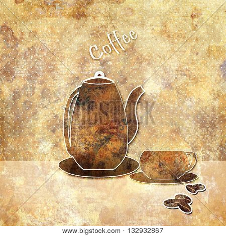 Vintage pot and cup on grunge background illustration