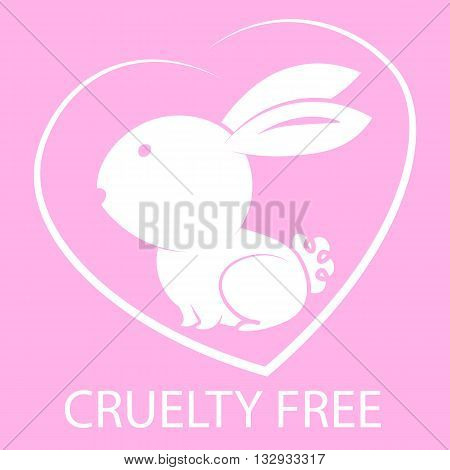 Animal cruelty free icon design. Animal cruelty free symbol design. Product not tested on animals sign with pink bunny rabbit. Vector illustration.