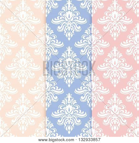 Vector set of classical delicate seamless patterns in pastel pantone colors: rose quartz, serenity and yellow. Background for greeting cards and wedding invitations.