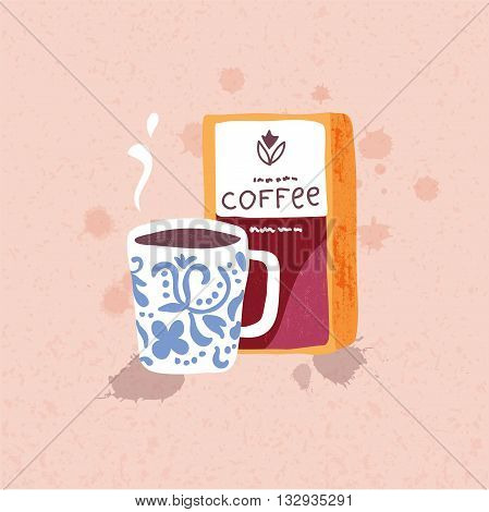 Vector illustration of hand drawn big coffee mug and coffee beans pack on the background. Swedish style.