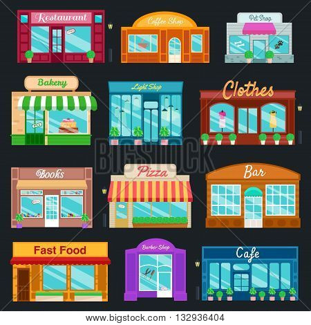 Shops and stores icons set in flat design style. shop, newspaper shop, coffee shop, ice cream shop, flower shop, vegetable and fruit store. Vector illustration