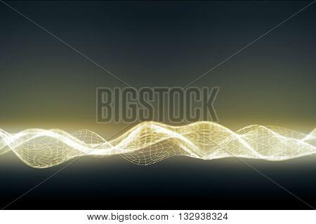 Illuminated digital wave on dark background, close up