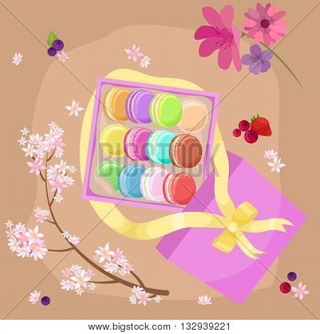 Sweet and colourful french macaroons or macaron vector illustration. Dessert fruit macaroons and different colors macaroons. Pasty traditional sweet macaroons biscuit dessert france delicious.